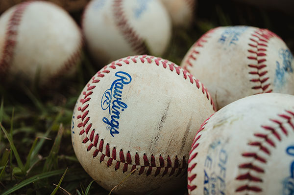 baseballs in a pile